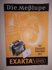 ORIGINAL  EXAKTA VAREX MEßLUPE IHAGEE DRESDEN 1956 Prospekt Kamera  DDR