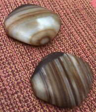 TWO Slightly Old Agate Beads Drilled Diamond-Shaped & Natural (from Nepal)
