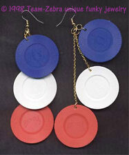 HUGE Funky Lucky POKER CHIPS EARRINGS Casino Collectible Novelty Costume Jewelry