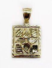 "10K Yellow Gold Diamond Cut Nugget Men Pendant 4.5 Grams 0.90"""