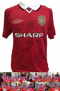 MANCHESTER UNITED CHAMPIONS LEAGUE 1999 FOOTBALL SHIRT SIGNED BY 12 COA PROOF