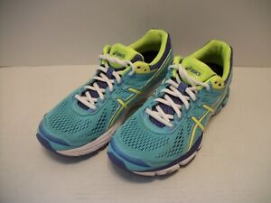 Asics GT-1000 4 Women's Running Shoes Aqua/Neon Green Mesh/Leather US Size 9