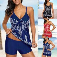 Women's Floral Printed Tankini Swimwear Tank Top+Boyshorts Casual Swimwear Sets
