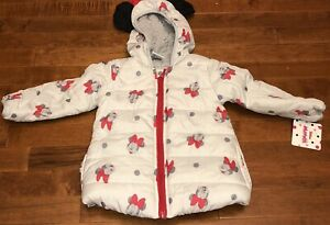 Disney Jr Toddler Girl Minnie Mouse Hooded Puffer Coat Jacket New 3T