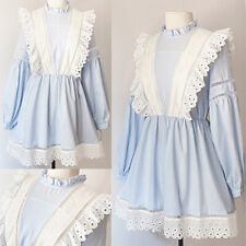 NEW Light Blue Striped White 100% Cotton Eyelet Embroidery Ruffle Lolita Dress