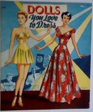 """New listing 1949 """"Dolls You Love to Dress"""" Paper Doll Book by Saalfield 10.75 x 1. Lot 233"""