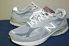 MENS NEW BALANCE 990 M990GL3 GRAY & WHITE RUNNING SHOES SIZE 13 D