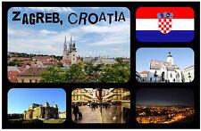 ZAGREB, CROATIA - SOUVENIR NOVELTY FRIDGE MAGNET - FLAGS / SIGHTS - NEW - GIFT