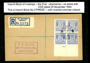 Guernsey St Martin's  1944  Occupation Cover with Arms 2 1/2d Imprint    (O467)
