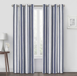 "Quinn Stripe Curtain Panel Grommet Top Panel Total Blackout 108"""