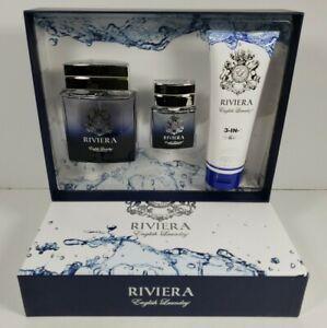 Riviera by English Laundry 3pc Gift Set Men Eau de Toilette 3.4oz/.68oz Cologne