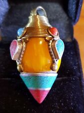Tibetan AMBER Turquoise AND RED CORAL SILVER DIMOND SHAPED PENDANT 50 MM