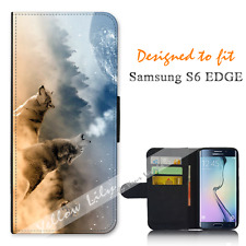For Samsung Galaxy S6 EDGE Wallet Flip Phone Case Cover Howl Wolf Stars Y00763