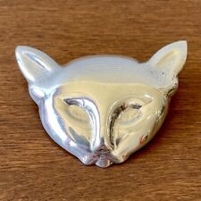 Sterling Silver Taxco Mexico Cat Head Pin Brooch .925