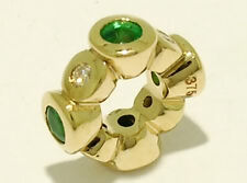 Bd072- Genuine 9ct Gold NATURAL Emerald & Diamond Bead Charm Real Gold Real Gems