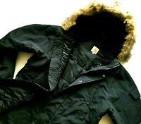 HOT Men's CARHARTT @ ANCHORAGE PARKA FUR HOODED QUILT LINED BLACK COAT JACKET M