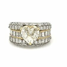 Heart-Shape Diamond Ring with Rounds and Baguettes TW 3.62 ct Plat/18k - HM1773