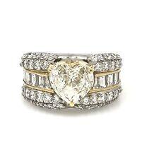 Forma De Corazón Diamante Anillo con RONDAS Y BARRITAS TW 3,62ct Platino / 18