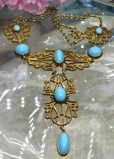 ART DECO EGYPTIAN REVIVAL SLEEPING BEAUTY BLUE GLASS ORNATE BRASS BIB NECKLACE!!