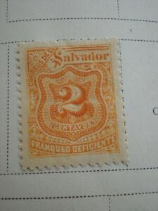 1899 Salvador Postage Due 2 Centavos Unused Hinged Stamps
