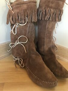 Taos Front Lace Suede Fringe Boots