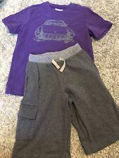 Hanna Andersson Boys Car Shirt Sweat Shorts Sz 120 6-7 Euc