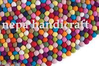 90cm Round Rug 100% Wool Multi-Color Felt Ball Freckle Nursery Pom Pom Mat Nepal