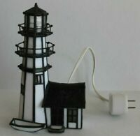 1993 Vitreville Collection Carolina Lighthouse By Bill Job Stained Glass Lamp