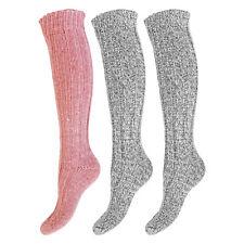 Girls/Teens 3 Pack PINK MIX Long Knee High Soft Wool Thermal Boot Socks Uk 4-7
