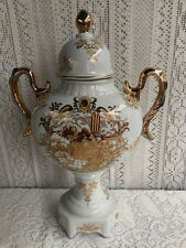 "16 1/4""  LIMOGES GILDED ENAMEL FINE PORCELAIN WHITE GOLD VASE URN WITH HANDLES"