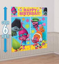 TROLLS Scene Setter HAPPY BIRTHDAY party wall decor Poppy  Branch Cooper DJ Suki