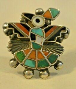 "size 6 Dan Simplicio Zuni RING ""HOPI BIRD"" Sterling Silver Turquoise Coral 1940s"