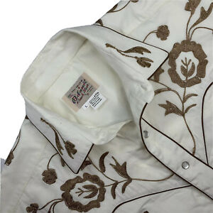 New L Rockmount Ranch Wear Natural Beige Western Pearl Snap Embroidered Shirt