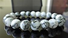 "Black & White Gemstone bead bracelet for Men or Women (Stretch) 10mm - 7.5"" inch"