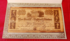 $1000 Bank Note Reproduction United States 1840 on Parchment #8894