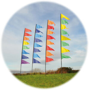 Pendant Banner Flag Kit with Pole - 3.4m Collapsible Pole with 8 Flags & Spike