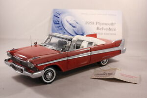 FRANKLIN MINT 1958 PLYMOUTH BELVEDERE..1:24.RARE LE Convertible Model Car