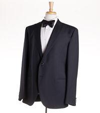 NWT $1375 LUBIAM (L.B.M. 1911) Black Woven Stripe Wool Tuxedo Slim 46 R Suit