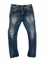 G-Star 3301 Jeans W32 34 Blue Denim Jeans Mens L32 Tapered Distressed Raw Gstar