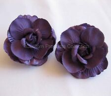 Purple Rose Wedding Bride Hair Flower Clip Barrette - One Pair