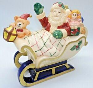Vintage Fitz and Floyd Christmas Teapot Santa and his Sleigh 1993👓