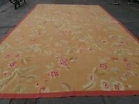 Old Hand Made French Design Wool 18 x 12 Gold Brown Original Aubusson 540X358cm