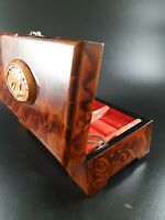 Vintage Chinese Wooden Lacquered Jewelry Box -Brass Hardware-Silk Interior.