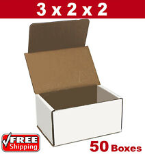 50 3x2x2 Small White Corrugated Cardboard Packaging Shipping Mailing Boxes New