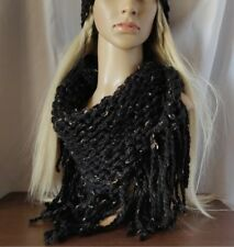 Womens Hand Knit Fringe Scarf Chunky black w/ tan & gray Bib Triangle Boho Wrap
