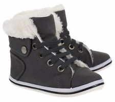 Boys Girls Black Grey Fur Boots Hi-Top Ankle Warm Winter Shoes SIZES 7 - 2.5