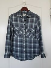 Zadig & Voltaire Blue Green Check Plaid Button Down Shirt Blouse Top S
