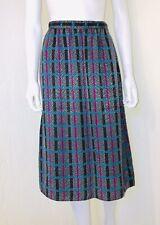 Vtg Sasson Gray Teal Pink Checker Plaid High Waist Pleat Midi Skirt Size 6/7 EUC