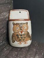 Vtg Owl Wall Pocket Counterpoint Japan Handpainted Pottery Planter Pen Holder