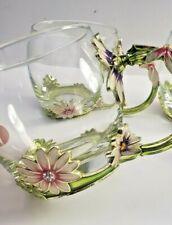 4 Pc. Creative Handmade Enamel Flower Daisies Crystal Glass Coffee Tea Cup Mug